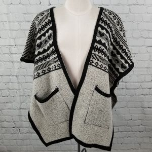 Sweaters - Open front knit drop shoulder poncho